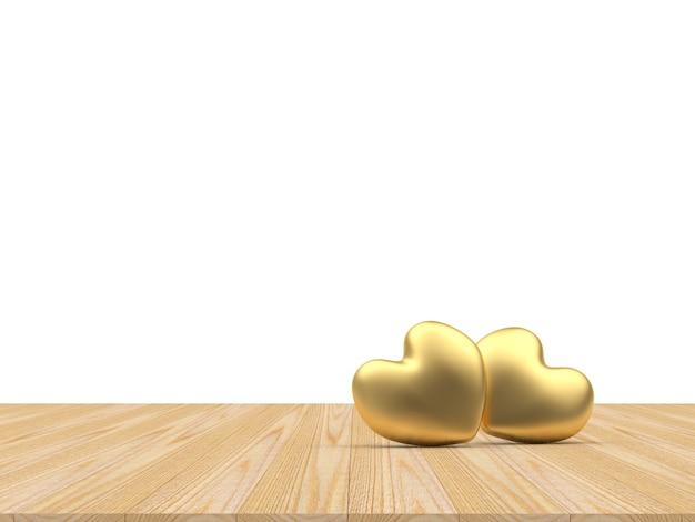 Два золотых сердца на деревянных