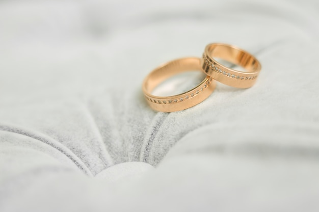 Two gold  wedding rings on grey background