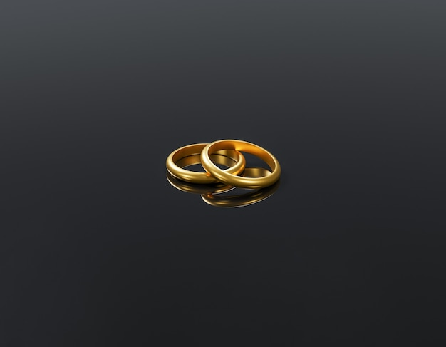Два золотых обручальных кольца лежат на отражающей черной поверхности 3d-рендеринга