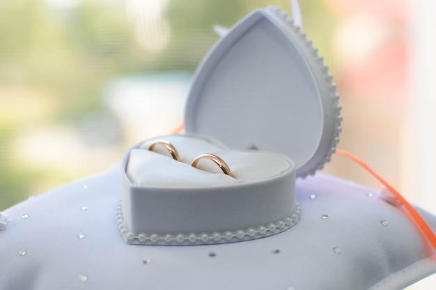 Two gold wedding rings lie in a white box