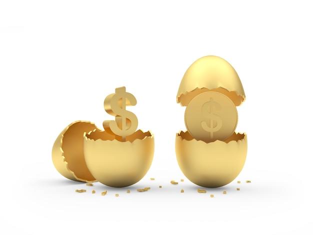 내부 달러 동전과 두 개의 황금 깨진 된 달걀
