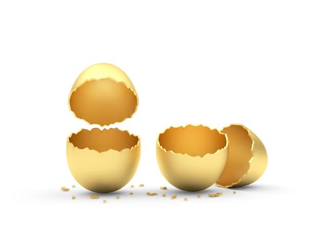 두 개의 황금 깨진 빈 계란