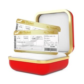 白い背景の赤いギフトボックスに2つのゴールデンビジネスまたはファーストクラスの航空券搭乗券フライエアチケット。 3dレンダリング