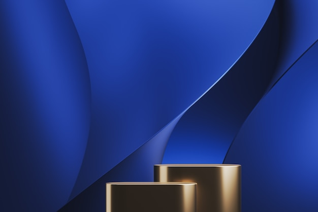 Two golden platform on blue abstract background. abstract background for product presentation or ads. 3d rendering