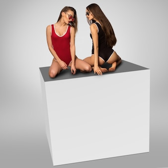 Two gorgeous girls sits on a cube in studio on grey background