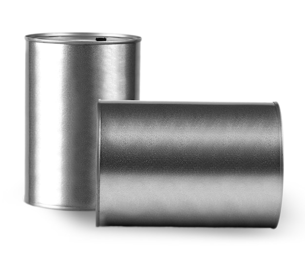 Two gray metal cans for storing liquids on white background