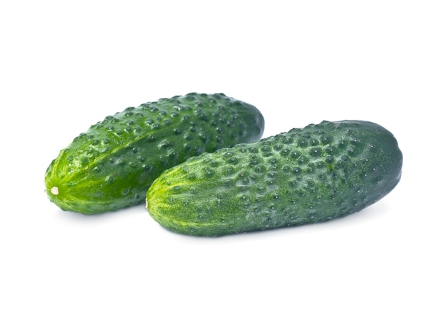 Two green cucumber isolated