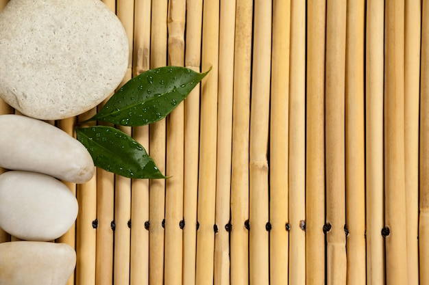 Two green leaves and four white stones on the bamboo mat