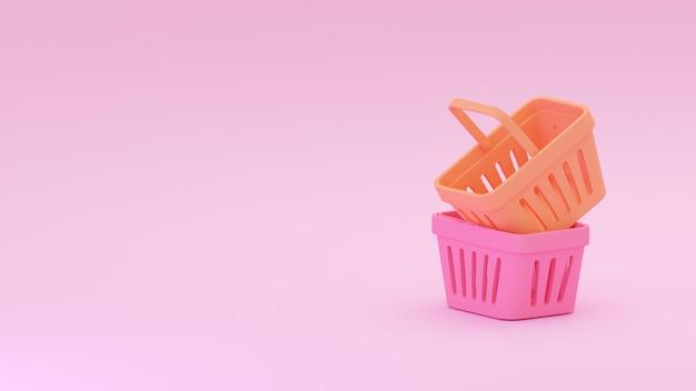 홍당무 분홍색 배경에 고립 된 두 식료품 바구니