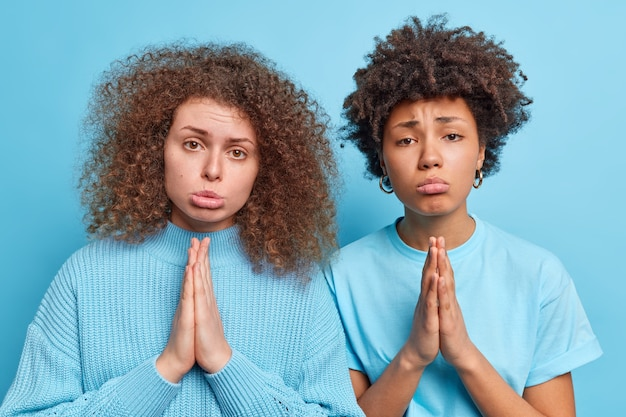 Due donne colpevoli con i capelli ricci tengono i palmi premuti insieme hanno supplicante angelo espressioni innocenti chiede pietà o si scusano vestite con abiti casual isolati sul muro blu. posa dell'accattonaggio