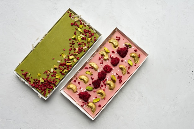Two handmade chocolate bars shot from above
