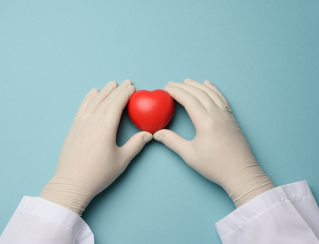 Two hands in blue latex gloves holding a red heart, donation concept, close up