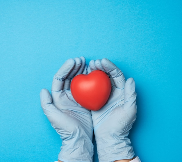 Two hands in blue latex gloves holding a red heart, donation concept, top view