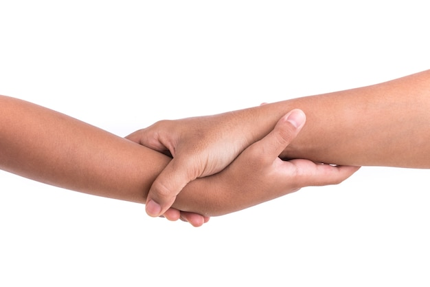 Two hands holding together. help or support concept. isolated on white background