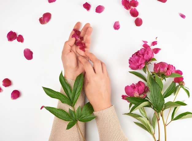 Two hands of a young girl with smooth skin and a bouquet of red peonies