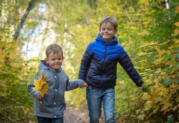 두 명의 행복한 유럽 소년이 노란 잎으로 가을 공원을 건너 뛰고 있습니다.