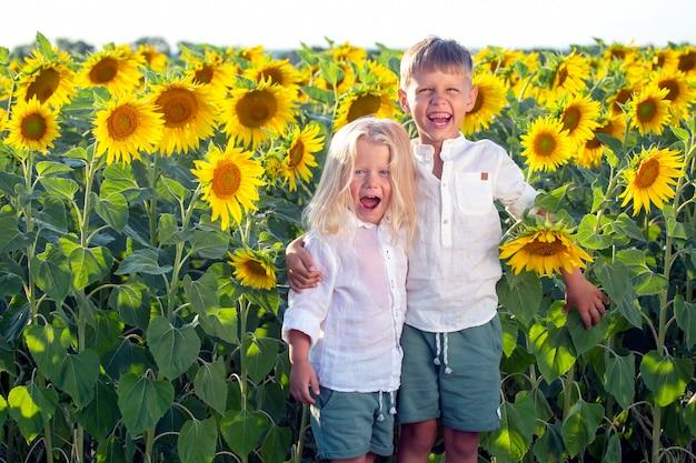 두 명의 행복한 잘생긴 소년이 해바라기가 핀 들판에 서 있다
