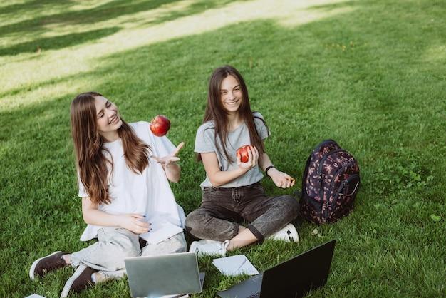 2人の幸せな笑顔の女子学生が、本やノートパソコンを持って芝生の公園に座って、リンゴを食べ、勉強し、試験の準備をしています。遠隔教育。ソフトセレクティブフォーカス。