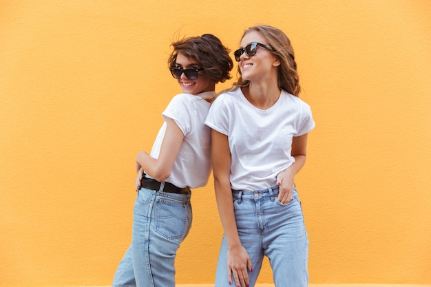 Two happy smiling teenage girls in sunglasses posing
