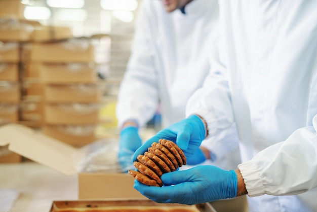 Two hard working food plant employees in sterile uniforms packing cookies in boxes.
