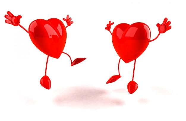 두 개의 심장-3d 캐릭터 점프