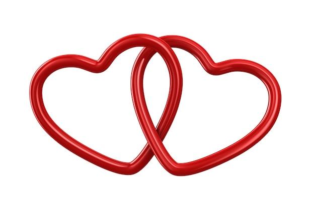 Два сердца на белом фоне. изолированные 3d иллюстрации