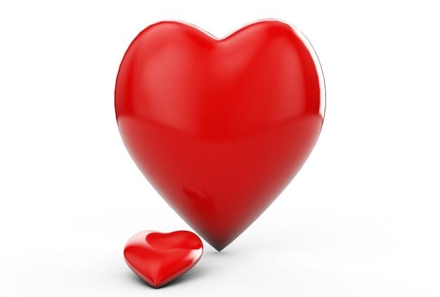 Два сердца формируют красные сердца. я тебя люблю абстрактную композицию. концепция значок гармонии пара возлюбленной. элемент дизайна поздравительной открытки дня святого валентина. подробный 3d-рендеринг. изолированные на белом фоне