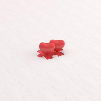 2つのハートは、白いパズル、バレンタインコンセプト、3dレンダリングで分離されています。