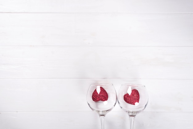 Two hearts in glass