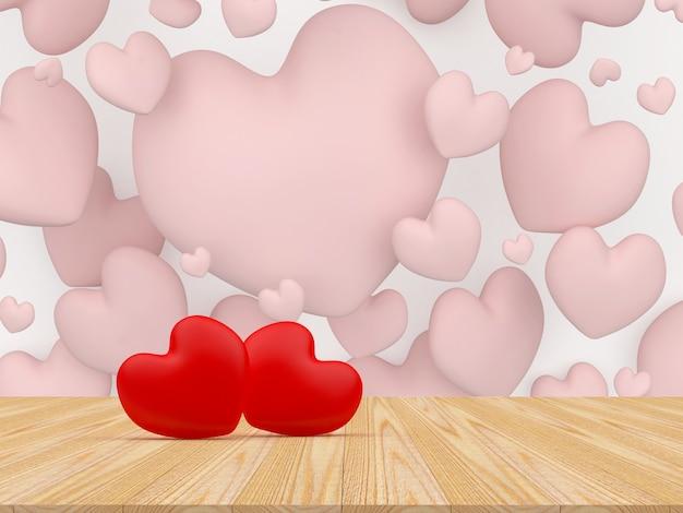 Два сердца на деревянной поверхности среди других сердец.