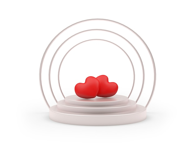 Two hearts on a round pedestal