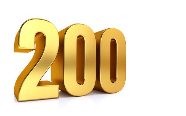 白の200、3 dイラストレーションゴールデン番号200とテキストの右側にコピースペース