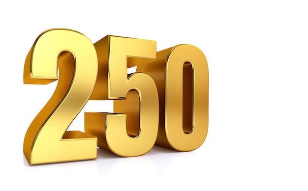 白の250の3 dイラストゴールデン番号250とテキストの右側にコピースペース