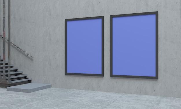 Two indoor purple signboards
