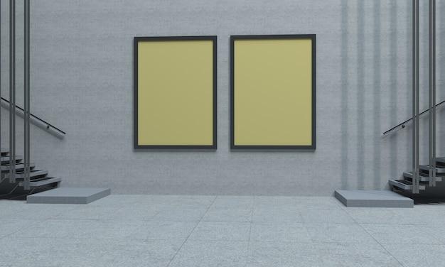 Two indoor yellow signboards