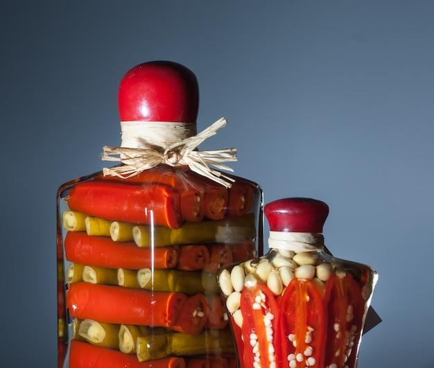 インゲンマメと他の野菜のピクルス2瓶