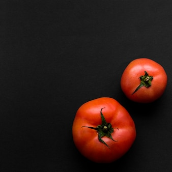 Two juicy red tomatoes on black backdrop