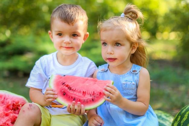 庭のスイカの間に座っている2人の子供。子供たちは屋外で果物を食べる。子供のための健康的なスナック。スイカを楽しむ2歳の女の子と男の子。