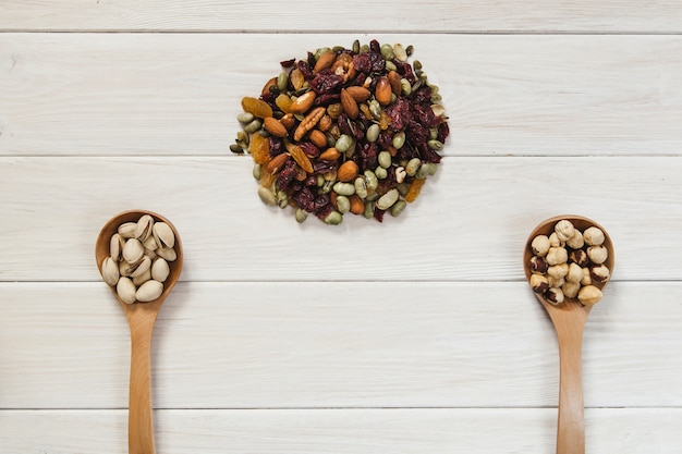 Two ladles and pile of nuts
