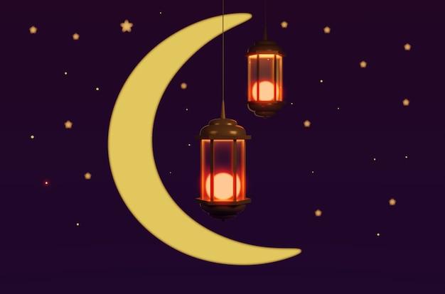 月と星の3dレンダリングを備えた2つのランタン