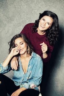 Two  laughing women