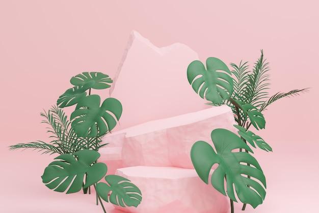 淡いピンクの背景にモンステラ植物の葉と2つのレベルのピンクの表彰台の石の壁。 3dイラストレンダリング画像。