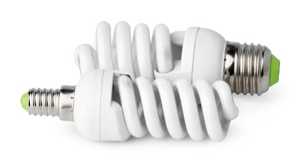 흰색 배경에 고립 된 두 개의 전구