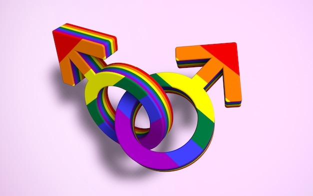 Two linked male symbols colored gay pride flag