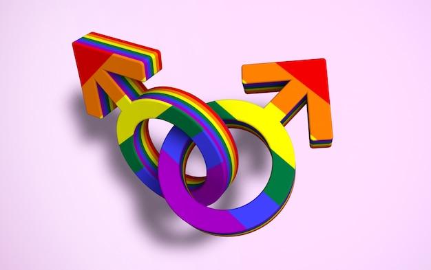 2つのリンクされた男性のシンボル色のゲイプライドフラグ