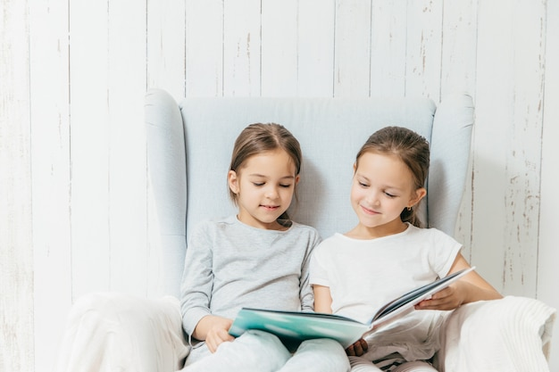 Two little adorable sisters sit in sofa, read interesting book, sit in comfortable sofa