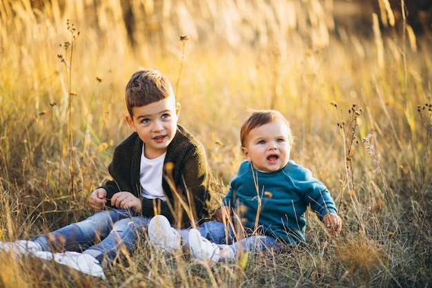Two little baby brothers sitting together in field