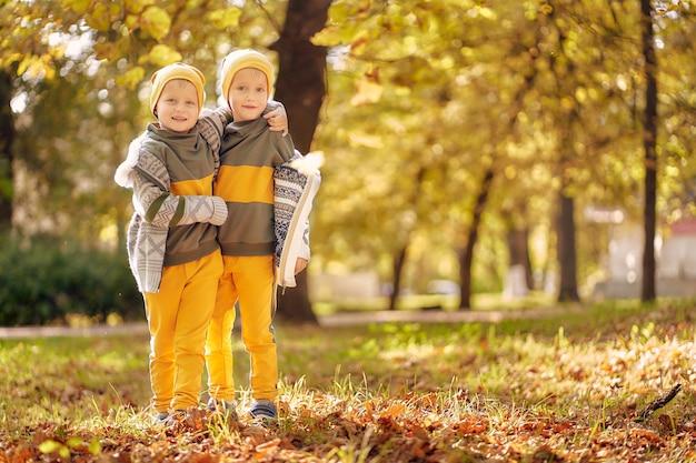 公園で秋の晴れた夜に同じ服を着た2人の男の子。 2人の未就学児の兄弟は、落ちた黄金色の葉で公園で楽しんで遊んでいます。