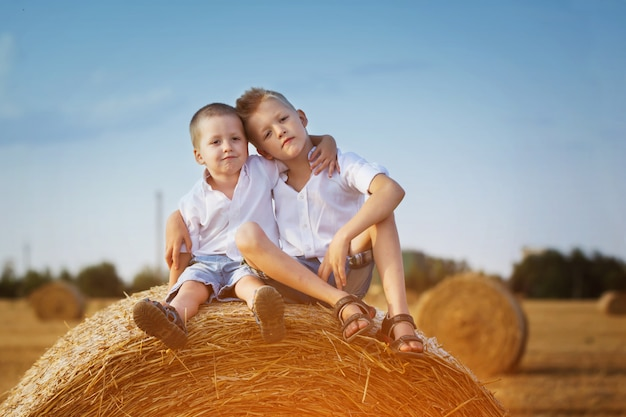Two little brothers sitting on a haystack in wheat field on warm and sunny summer day