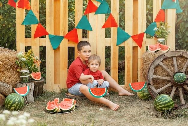 Два маленьких симпатичных мальчика наслаждаются арбузными детьми на пикнике